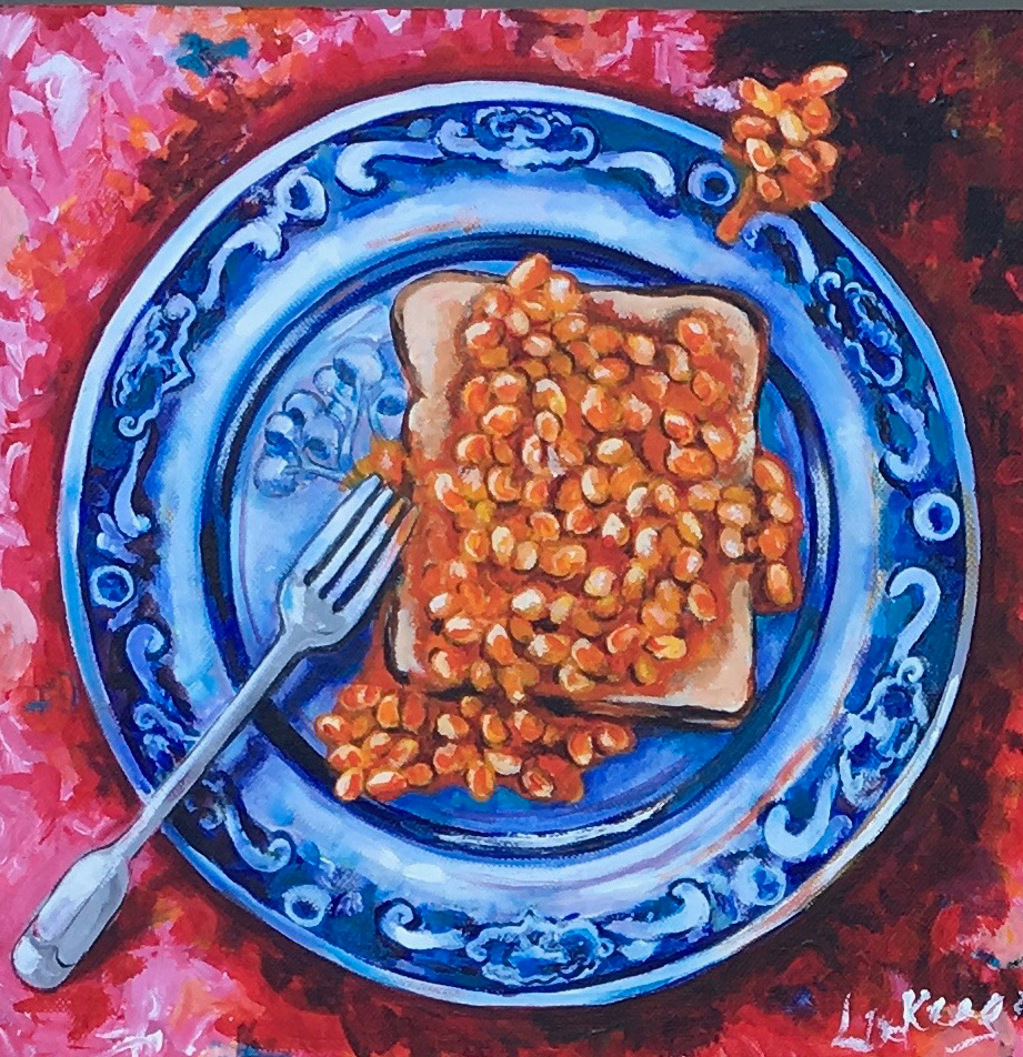 Beans on toast on Willow pattern