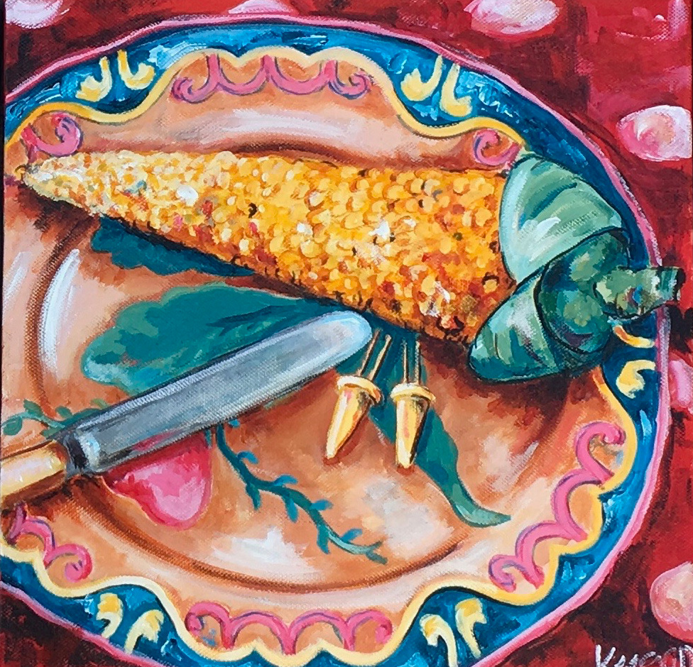 Corn on the cob with bone handle knife