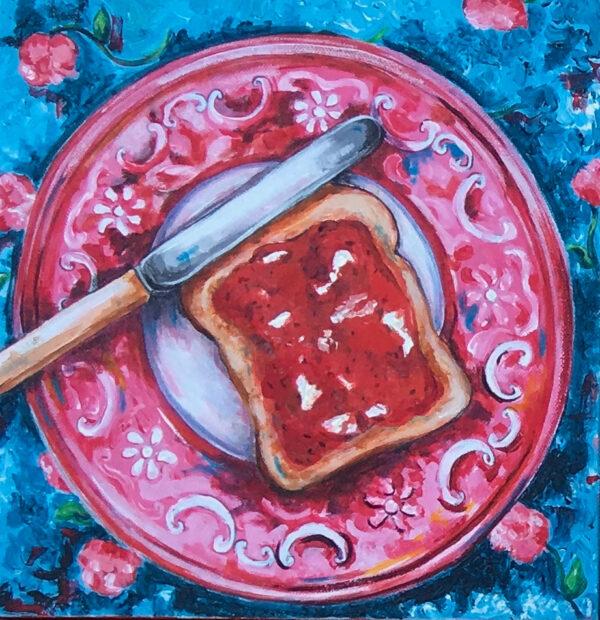 jam on toast with bone handled knife