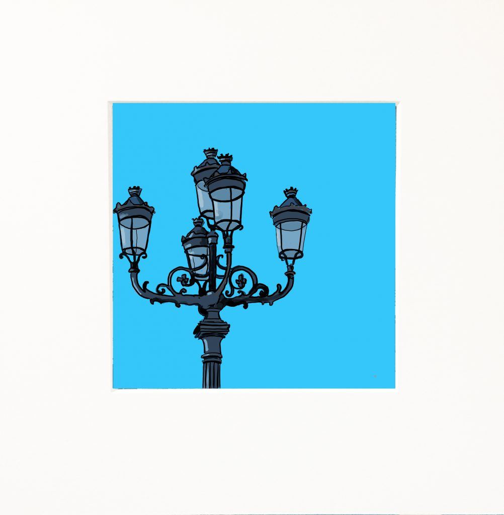 Snapshots of Dublin - Five Lamps on blue
